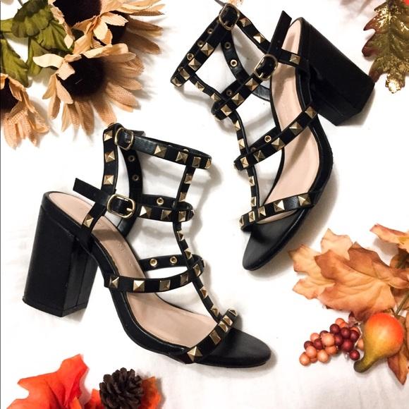 7b0e90050e22 Lulu s Shoes - Phedra Black Studded Ankle Strap Heels